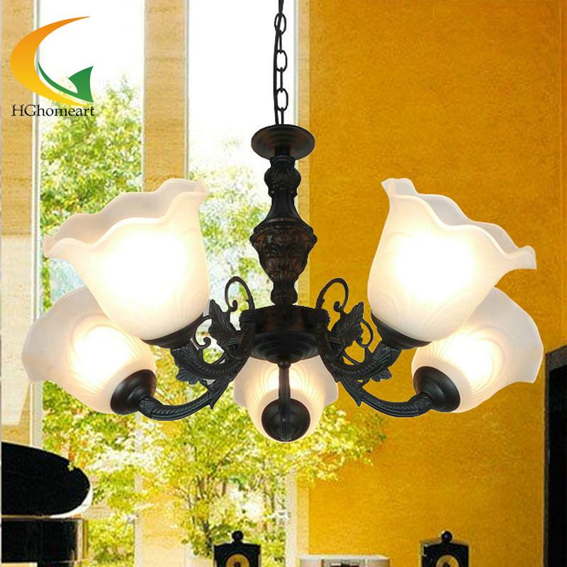Europischen Antiken Kronleuchter Wohnzimmer Restaurant Lampen Schlafzimmer Beleuchtung Schwarz Schmiedeeisen Glas LampeChina