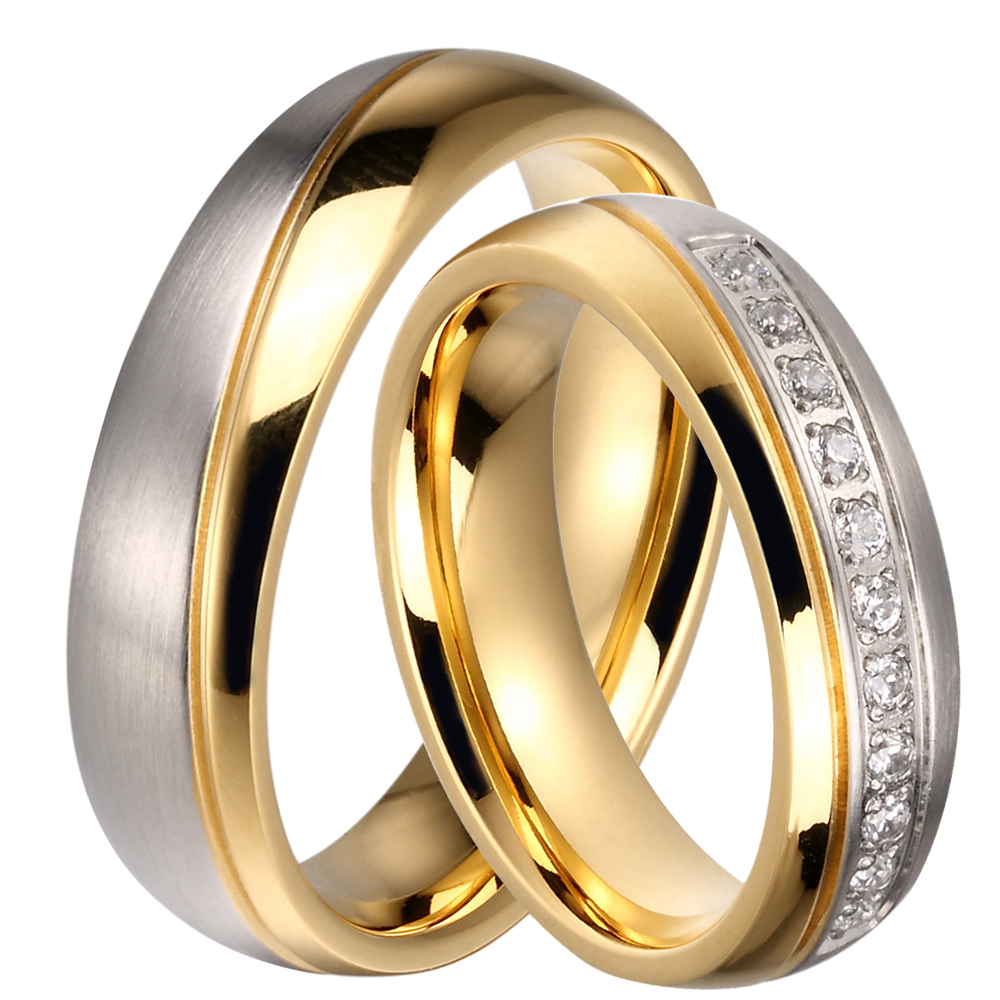 Wholesale 10pcs/lots CZ Stone Couple Wedding Band 6mm Stainless Steel His & Hers Love Promised Ring Mix Size Available ...