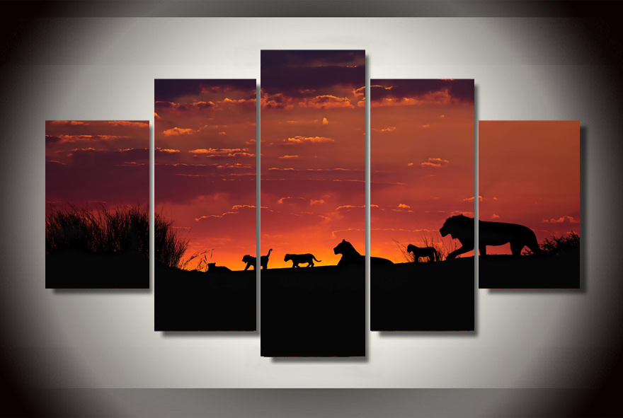 (No Frame) Wall Art Canvas Painting African Sunset Animals 5Pcs Wall Pictures For Living Room Good Quality Modular Oil Paintings