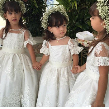 2019 New Design Flower Girl Dress For Wedding Sheer Neck Illusion Back Lace Appliques Short Sleeves Custom Made For 2-14 Girls