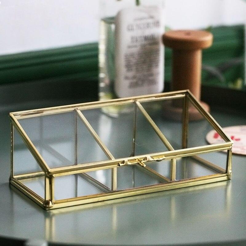 Trois grilles doré jante verre boîte de rangement luxe moderne bijoux cosmétiques boîte de rangement conteneur décor organisateur pour la maison-in Boîtes de rangement et bacs from Maison & Animalerie    3