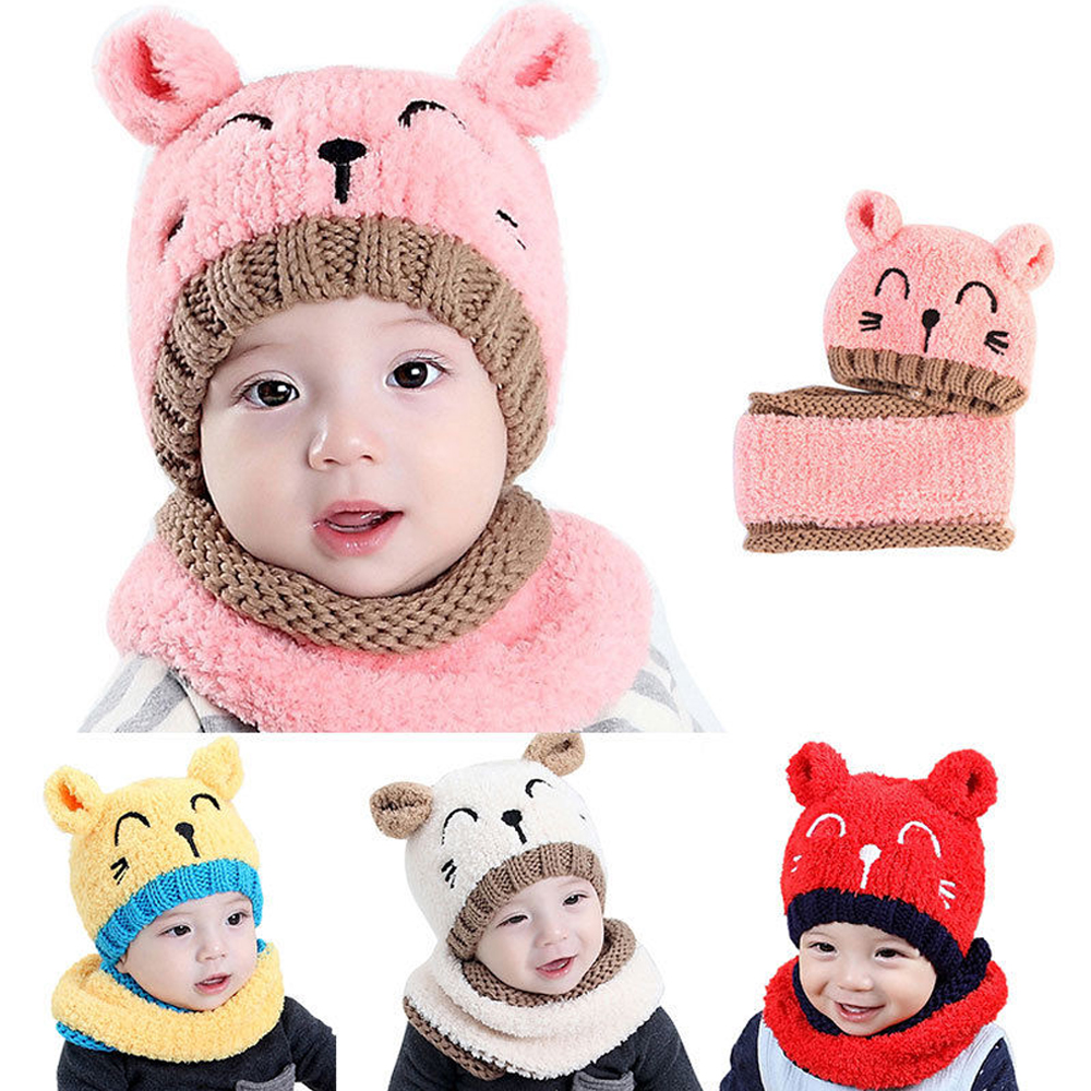 Children Kids Winter Hat Scarf Set Cute Cat Beanies Baby Girls Warm Fleece Plush Cap Scarf Set