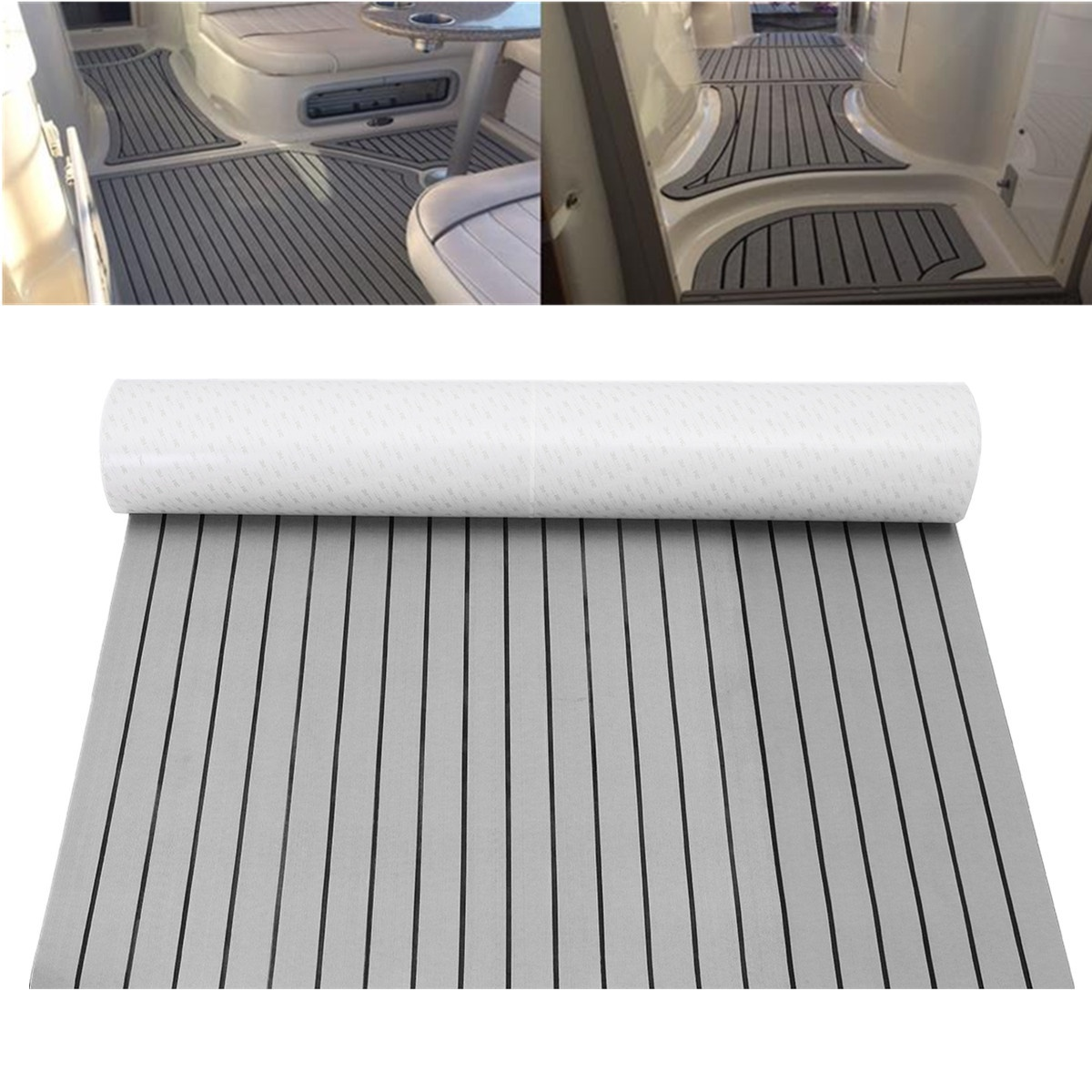 240cmx90cmx6mm Self Adhesive Marine EVA Foam Faux Teak Sheet Boat Yacht Synthetic Teak Decking Sheet Pad Foam Floor Mat Grey