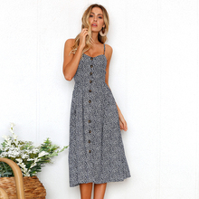 Floral Print Summer Beach Dress Sleeveless Plus Size For Women Sling Open Back Sexy Female Ladies Dresses S-3XL