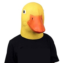 Takerlama Cute Animal Mask Deluxe Novelty Latex Rubber Creepy Funny Yellow Duck Head Mask Halloween Party