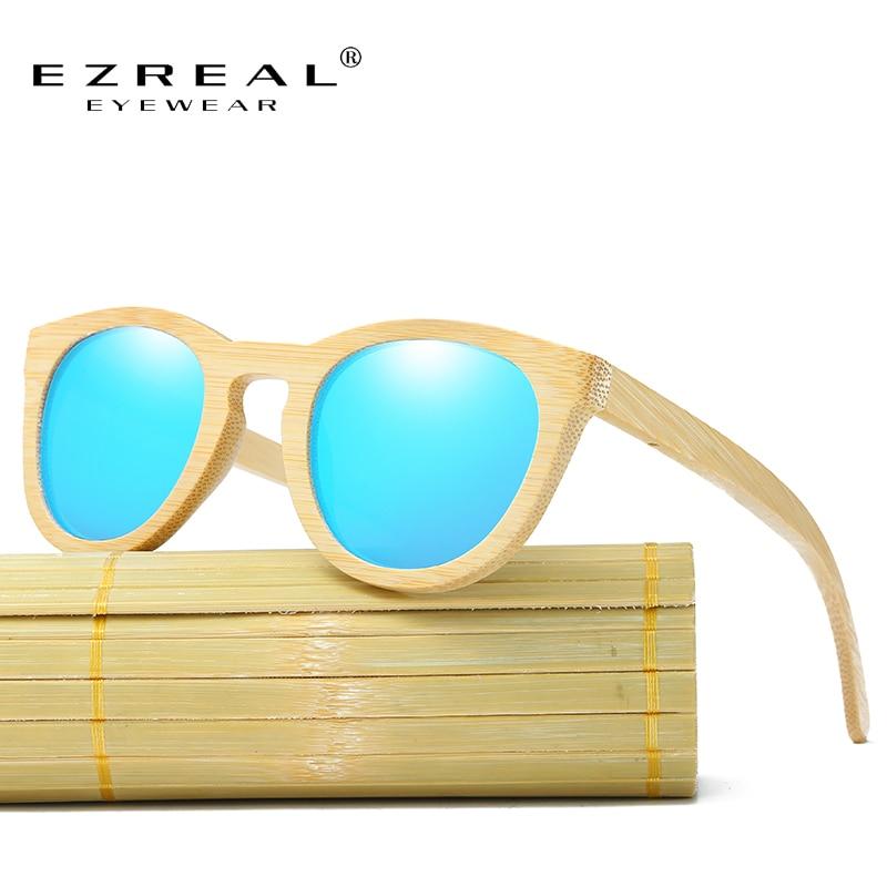 EZREAL menn 100% naturlige bambus tre solbriller polariserte håndlagde polariserte speil belegning linser briller med gaveeske