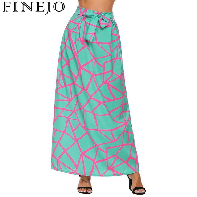 FINEJO Feminina Saias Summer Boho Beach Maxi High Elastic Waist Vintage Style Women Long Skirt Lace-up Casual Fashion Saia 6