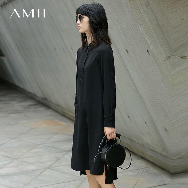 Amii Minimalist Casual Women Dress 2018 Long Sleeve Knee High Solid Dresses