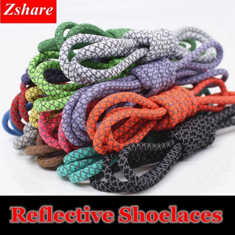 1Pair 19 Colors 3M Reflective Shoelaces Round Sneakers Shoe Laces Kids Adult Outdoor Sports Shoelaces Length 100 120 140 160CM