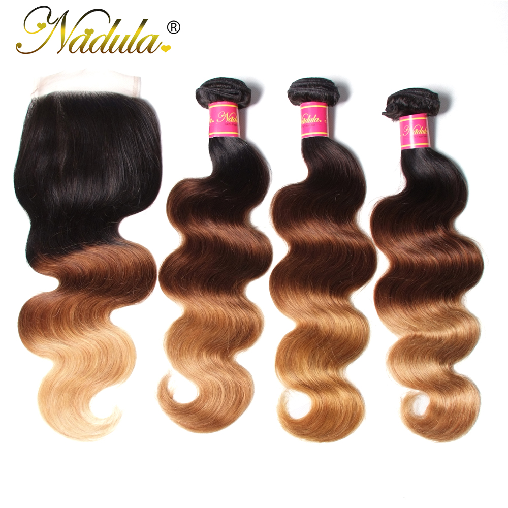 Nadula Hair Brazilian Body Wave Human Hair Bundles With Closure 1B-4-27 Ombre Remy Hair Weaves With 4*4 Swiss Lace Closure
