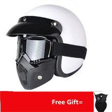 Free Shipping Unisex-adult open-face-helmet-style 3/4 Retro Motorcycle Helmet With Graphic  (Gloss White,Large)