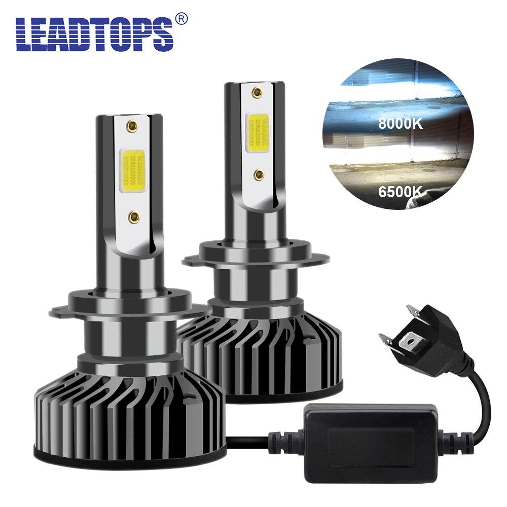 LEADTOPS 2 шт. H7 светодиодный H4 H8 H11 H3 H1 H9 H3 H27 880 881 9006 9007 12 В Авто головной светильник COB противотуманный светильник лампа DJ