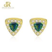 DR Pure 925 Sterling Silver Geometric Stud Earrings for Women Colorful Opal Boucles DOreilles Pour Les Femmes Fine Jewelry