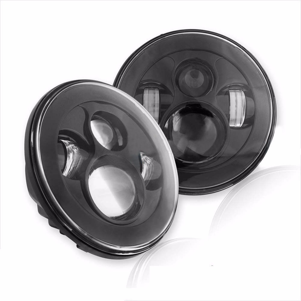 7INCH Round Projector H4 LED Headlight High/Low Beam HID White Light 40W For 97-15 Wrangler JK Hummer  Harley Davidson night lord 2pcscar led light h4 headlight head lamp dipped beam low beam or high beam hi lo 6000k white for fit 2011 2015 year