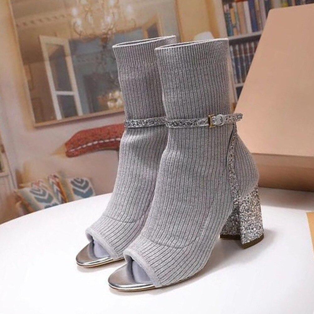Calcetín Tacón Beige Tobillo Brillo 2019 Marica Mujer Correa Peep De Tejer Zapatos gris amarillo negro Botas Alto Toe rosado Fiesta Primavera wAaW1Eq