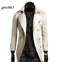 New 2013 Men S Fashion Korea Slim Classic Double Breasted Wool Coat Jacket Windbreak 2 Color