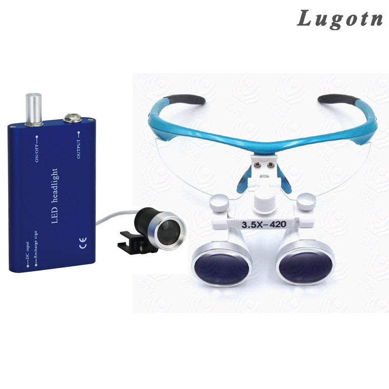 3.5X magnifying surgical operating magnify medical loupe with led head light antifog optical glasses dental operation loupe light head magnifying glasses with 4 pieces different multiple lens 2 aaa