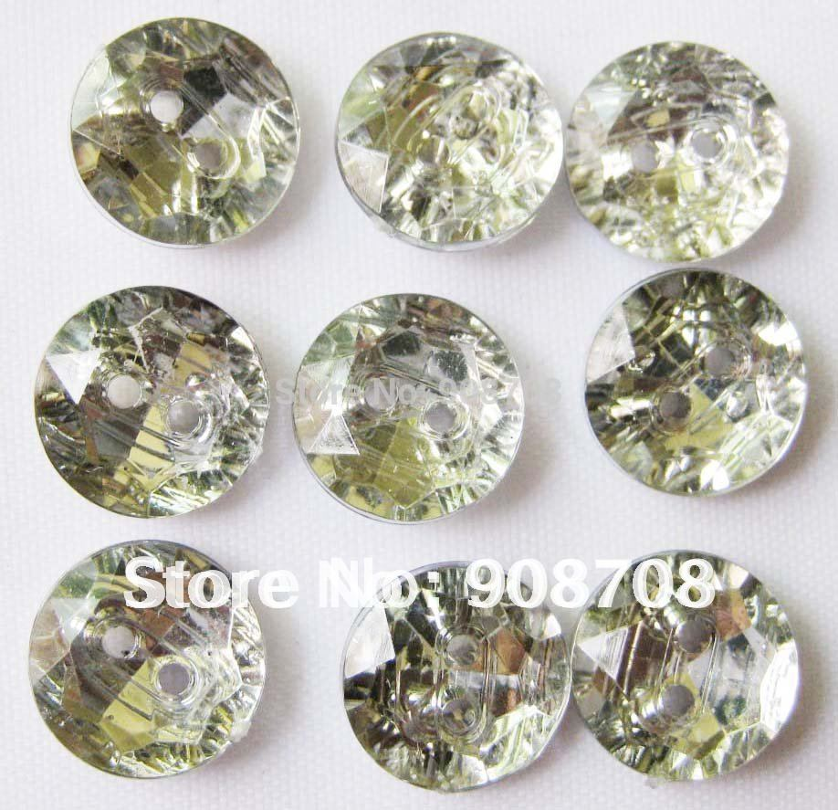 H0178 crystal button 180pcs silver back 11mm garment buttons round shape
