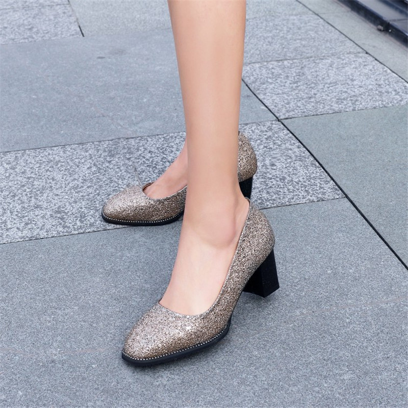 plus size 34-44 Spring Autumn Bling Women Pumps Glitter Fashion high-heeled shoes Square Toe thick heel Sexy Wedding Party Shoes