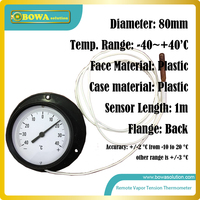 Remote vapor tension thermometer suitable for cold room (cooler and freezer room) or other fridge room, don't need extra power