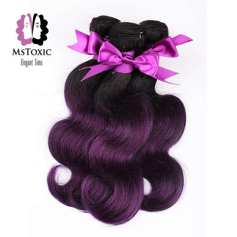 Mstoxic ombre t1b/roxo peruano onda do corpo pacotes 100% feixes de cabelo humano 10-22 polegadas extensões de cabelo remy