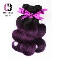 Mstoxic Ombre T1B/фиолетовый перуанский объемная волна Связки 100% натуральные волосы Связки 10 22 дюйм(ов) не Волосы remy расширения