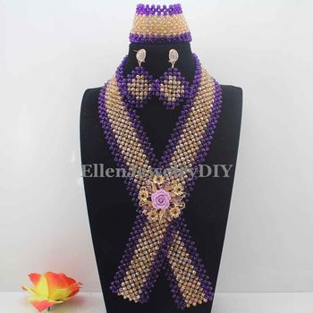 Fashion New Purple and White Crystal Beaded Necktie Necklace Set African Jewelry Sets for Brides Ceremony Free Shipping W13835