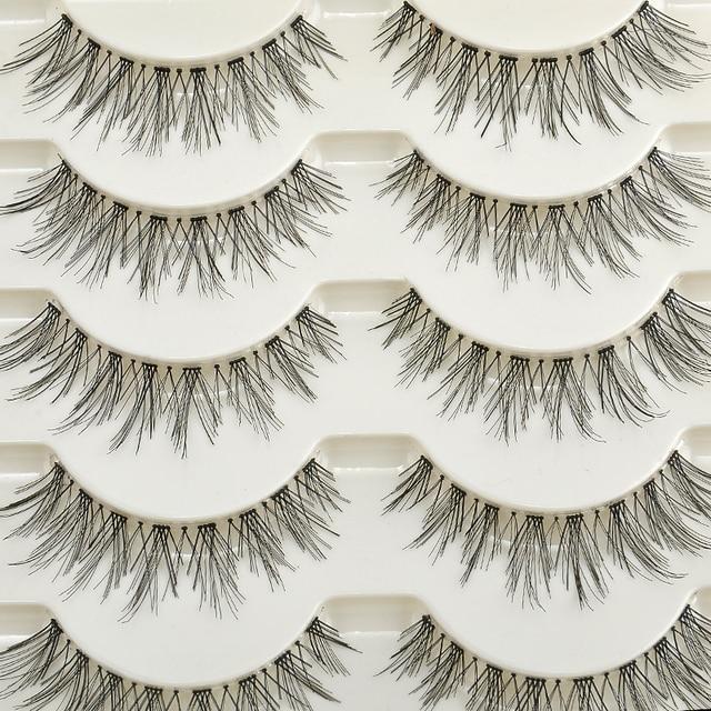 5 pares Natural larga cruz pestaña falsa hechos a mano maquillaje Natural Fake 12 MM negro ojo pestañas extensión envío gratis