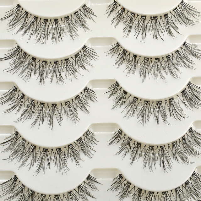 5 pares Natural largo Cruz hecho a mano falsa pestañas maquillaje Natural Falso 12 MM negro ojo pestañas extensión