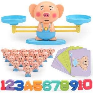 Image 4 - Montessori Math Balancing Scale Number Board Game Educational Toy Monkey Pig Dog Animal Figure Baby Preschool Math Toys