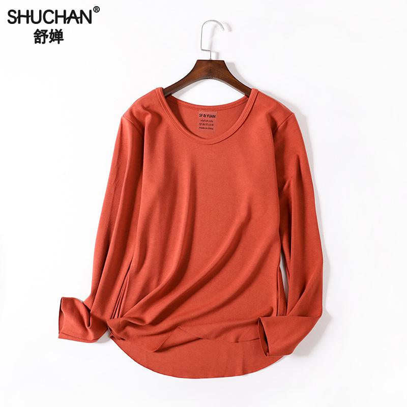 Shuchan Basic Womens Shirts Autumn Fall Thick Cotton Winter Tops For Women 2018 O-neck Casual Solid T-shirts