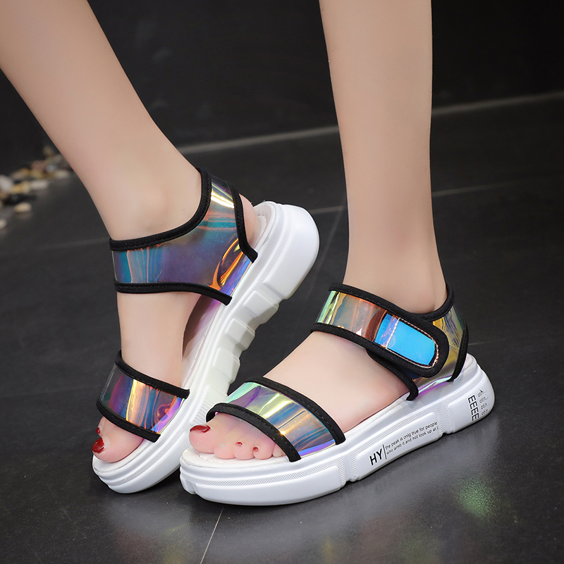 Lucyever 2019 New Summer Fashion Mixed Colors PVC Famale Sandals Ladies Comfort Flat with Platform Shoes Woman Zapatos De MujerLucyever 2019 New Summer Fashion Mixed Colors PVC Famale Sandals Ladies Comfort Flat with Platform Shoes Woman Zapatos De Mujer