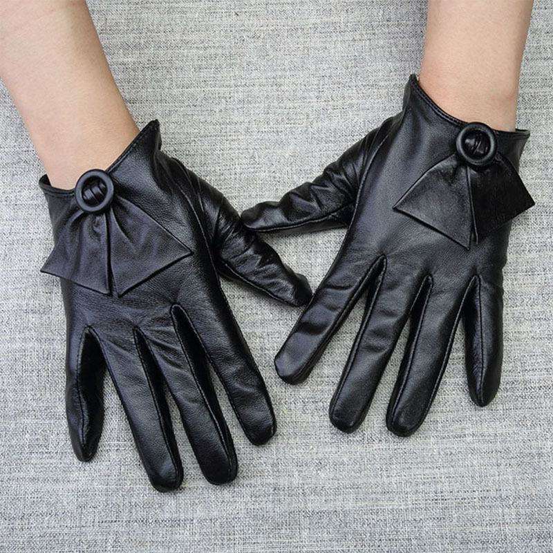 Leather Gloves Female Autumn Winter Real Leather Gloves Sheepskin Short Round Buckle Butterfly Knot Woman's Driving Gloves WL09