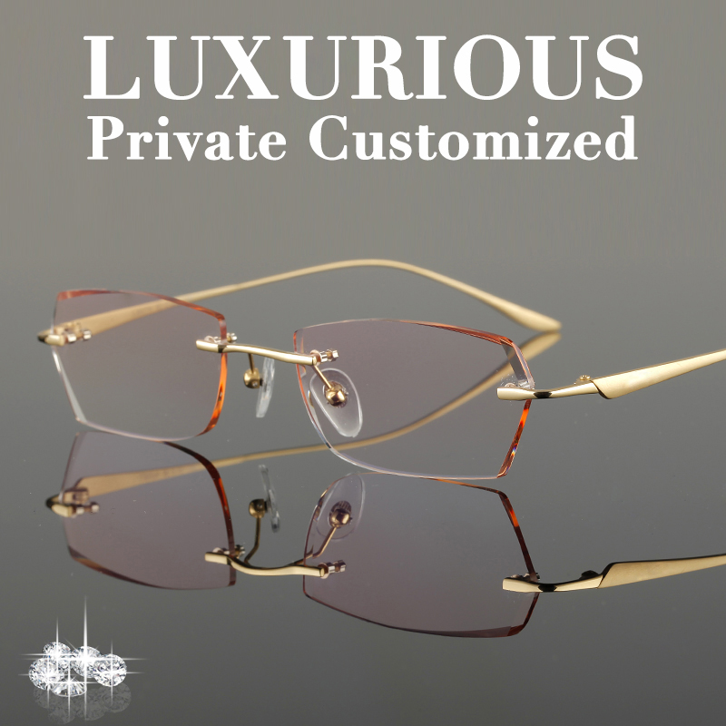 4497606ef33 Titanium Gold Glasses Frames Men Rhinestone Eyeglass Frame Ti Luxurious  High Clear Lens Anti-reflective Prescription Glasses 650