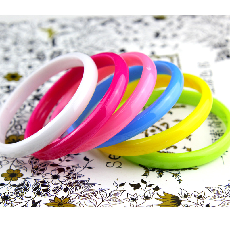 Bangles Hand-Charm-Bracelets Plastic Candy-Color Jewelry Girl Women Fashion Light
