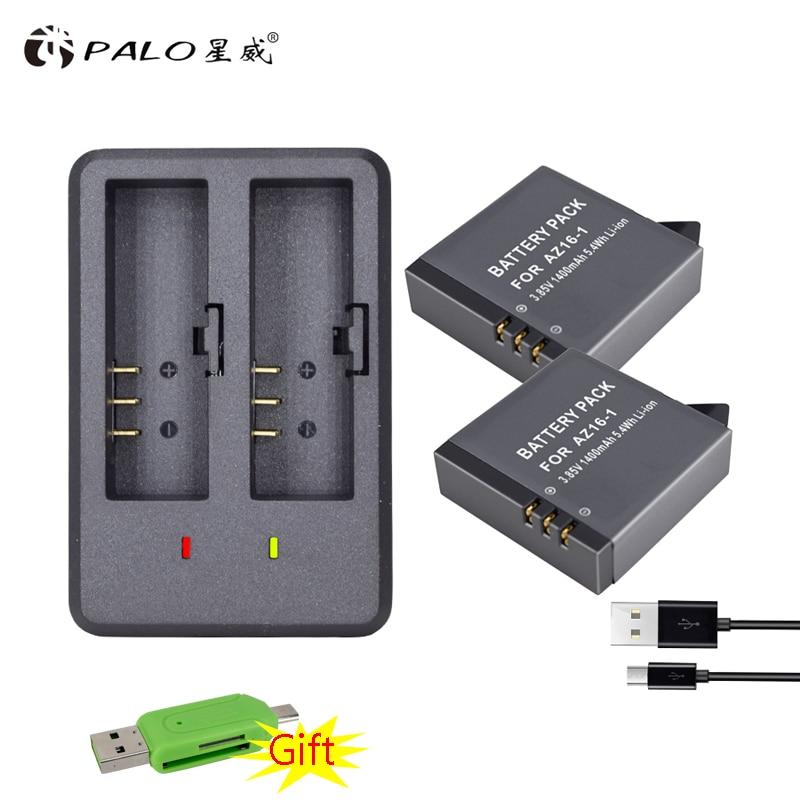 2x AZ16-1 xiao mi Yi 2 4K Yi Lite Batteries accu+ LED USB Dual Charger for XiaoYi 2 4K Xiaomi Yi II action camera Accessories флешка usb 16gb iconik красный петух mtfc cock 16gb
