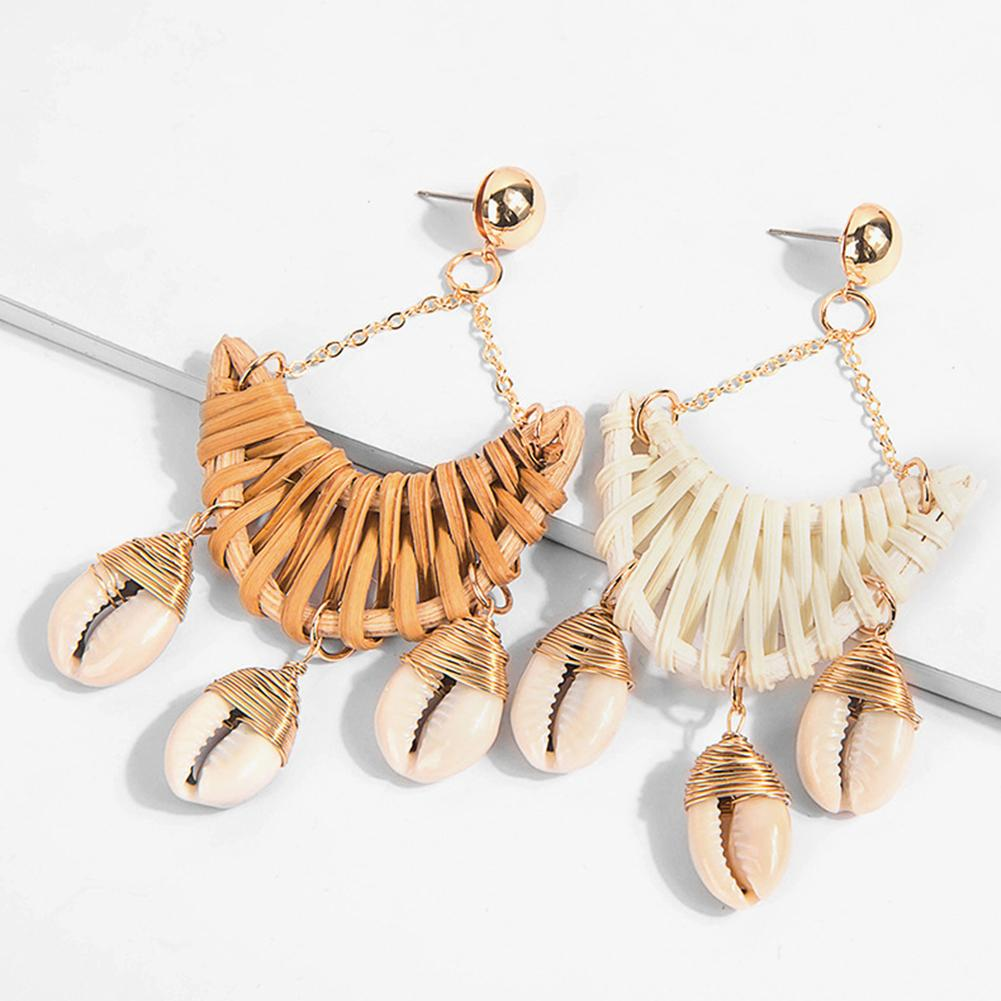 Boho Handgemaakte Vrouwen Weven Rotan Shell Moon Lange Dangle Stud Oorbellen Decor