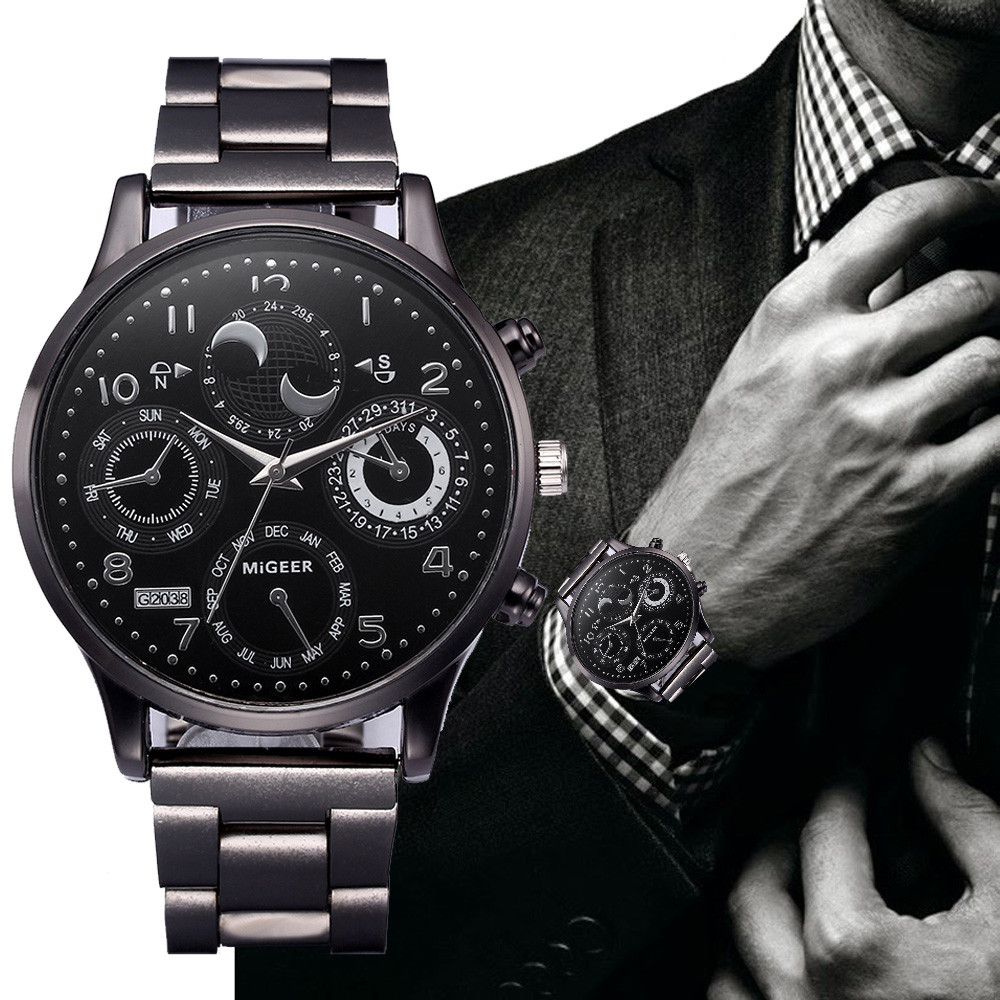 MIGEER2018 Fashion Men Crystal Stainless Steel Analog Quartz Wrist Watch Bracelet Men Watch Watches Sport Military erkek kol saa 2016 new fashion watches men motion form mens watches stainless steel band sport quartz hour wrist analog watch birthday gifts