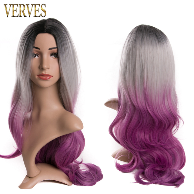 Ombre Two tone Synthetic Hair Wigs Natural Cheap Long wavy Heat Resistant Wigs For Black Women VERVES ombre color Womens Wigs