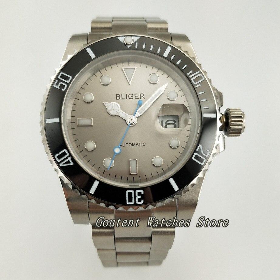 40mm Bliger SS. Case Grey Dial Luminous Automatic Movement Bracelet Men's Watch