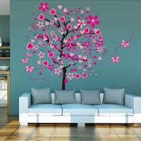Large red flower tree wall sticker home decor removable living room wall decal adhesive home decor wall poster