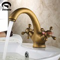 Antique Brass Bathroom Sink Faucet Basin Mixer Tap Double Cross Head Handle