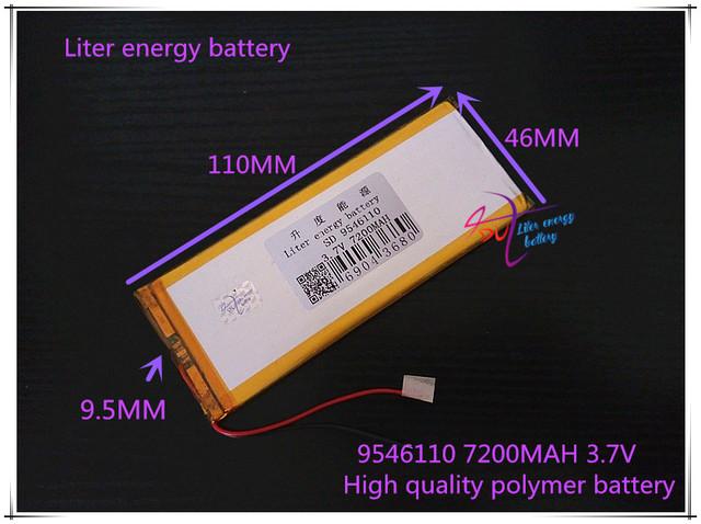 3.7 V 7200 mAH 9546110 (bateria de iões de lítio polímero) BANCO DO PODER de bateria Li-ion para tablet pc GPS mp3 mp4 celular