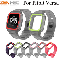 New Arrival Silicone For Fitbit Versa Wristband Wrist Strap With Protective Case Cover Frame Watch Band