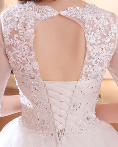 Image 5 - DHL Long Train Half Sleeve Embroidery Lace Wedding Dress 2020 New Arrival Sweep Brush Train Princess bride Gown Vestido De Noiva