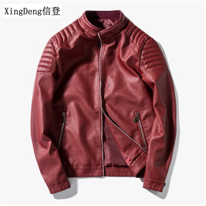 XingDeng Waterproof Zipper Men Fashion Jacket Mens Brand Motorcycle Leather Jackets Top Coats Brand-clothing Plus Size 4XL