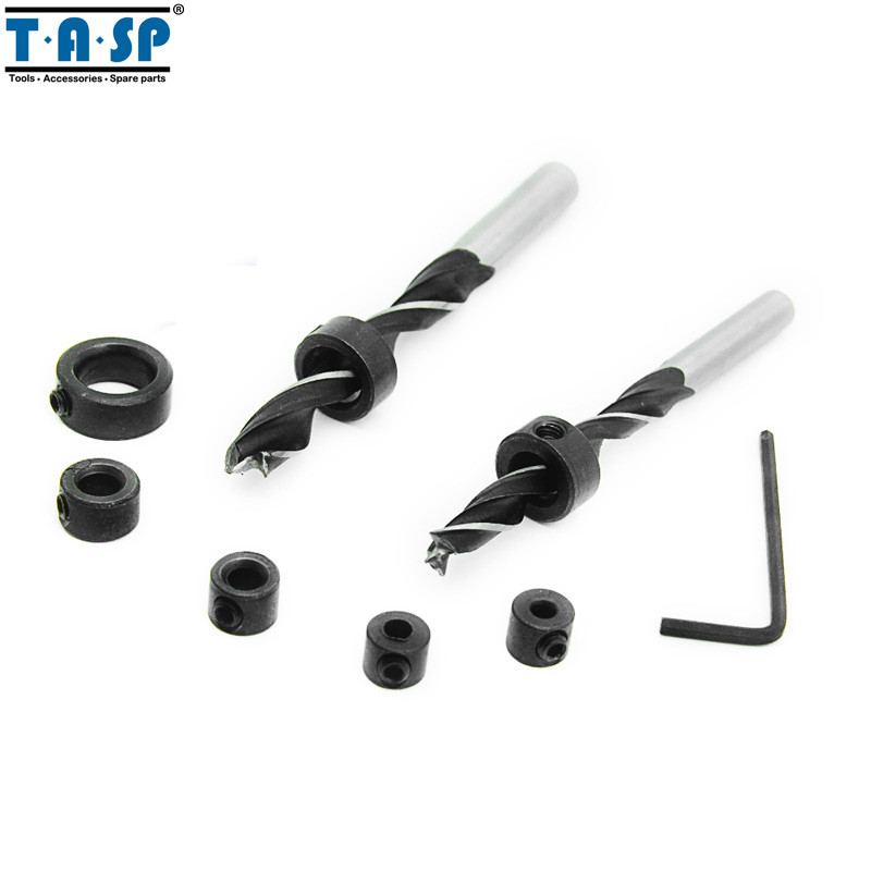 TASP 7pcs 3 12mm Drill Bit Depth Stop Collar Positioner Locator Woodworking Tools With Hex Wrench MDBK012 in Drill Bits from Tools