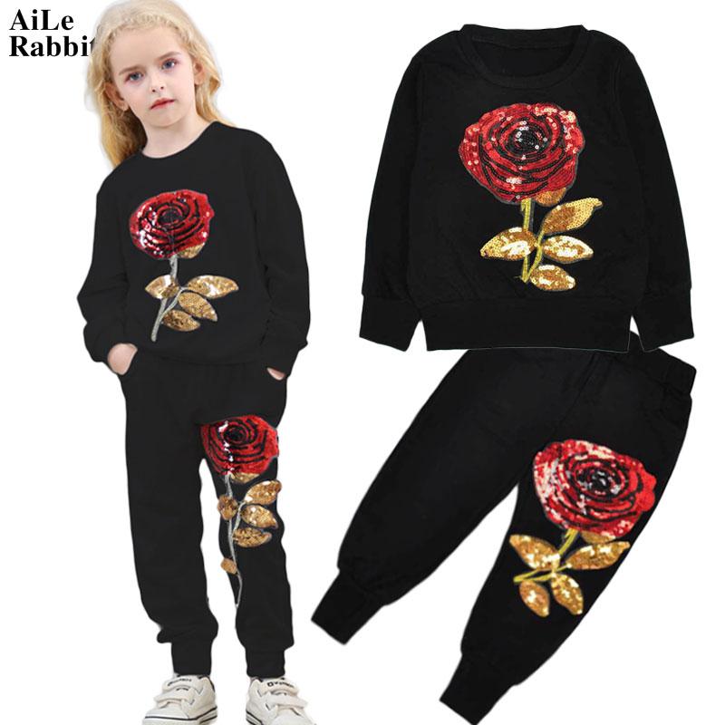 AiLe Rabbit/2017 Лидер продаж одежда для девочек костюмы мода роза блестками футболка +  ...