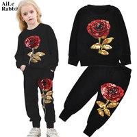 AiLe Rabbit 2017 Hot Sale Girls Clothes Suits Fashion Rose Sequins T Shirt Pants 2pcs Set