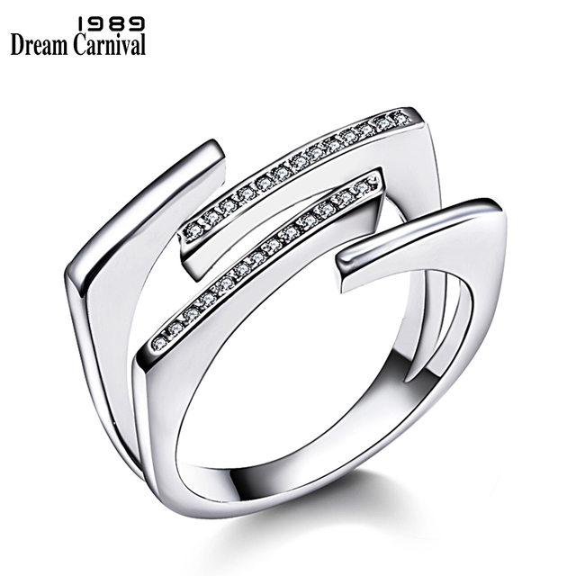DreamCarnival 1989 New Hot Style Unique Women Rings for Bridal High Quality AAA Clear White CZ Stone Luxury Fashion Anel WA11330